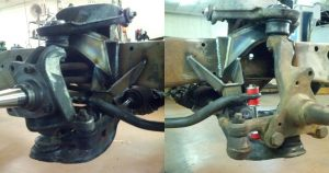 Note the location of the tie rod in relation to the lower ball joint, notice the one on the left (Bell Tech) is much higher than the one on the right. Also notice the tie rod contacts the anti-roll bar.